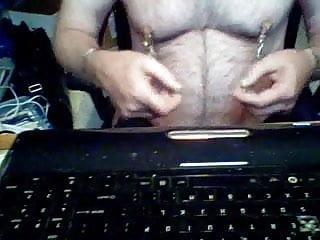Nipple torture glass dildo in ass magic wand...