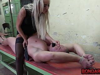 Mistress spanking and torturing senior guys dick