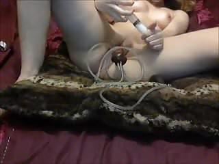 Masturbation with unusual dildodog