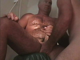 Muscledaddy gay bear couple handjob sauna showering in...