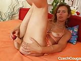 Thin amateur mother toys hairy pussy