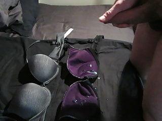 Cum in purple bra cup