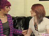 Lesbian trans babe assfucking tgirl