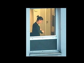 Lingerie Voyeur Brunette video: Hotel Window 2017-09-26