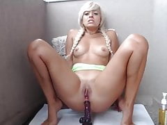DreamGirl064 Blonde takes dildo up ass