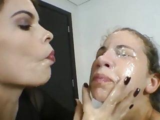 Brazilian lesbian face licking
