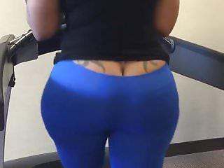 Cherokee ass crack out walking on treadmill loop...