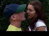Oldman John fuck girl playing tennis