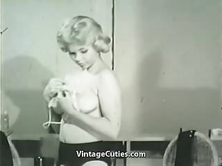Smart Blonde Taking off Her Clothes (1950s Vintage)