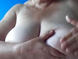 BBW 65 year old granny washes big tits