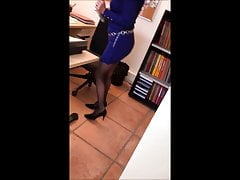 secretary in blue short dress and sexy black nylon pantyhose