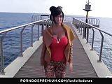 LAS FOLLADORAS - Busty chick picks up newbie then sucks dick