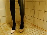 Showering in nude stiletto high heels and pantyhose