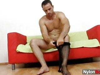 Gay messy cum explosion on nylon pantyhose