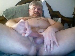 Vocal Mature Bear Edges His Nice Cock.
