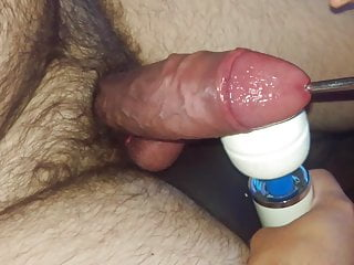 Huge cock CBT with rubber bands, sound, and Hitachi - cum