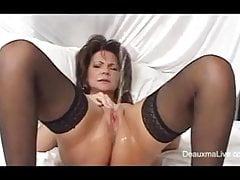 MILF Fucks Her Pussy with Dildo and Squirts