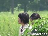 Japanese schoolgirls peeing really hard at lunch break