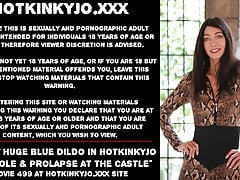 Really huge blue dildo in Hotkinkyjo's anal hole & prolapse