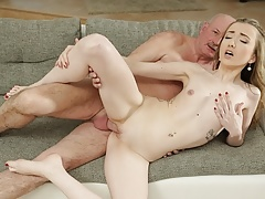 DADDY4K. Taboo sex of old guy and son with enticing GF