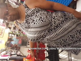 Colossal tit 67 yr aged ebony granny Uber Shopper Upskirt