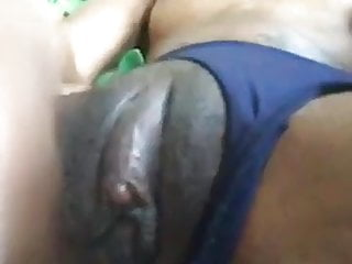 Ebony gf playing fat clit...