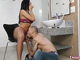 TS Bianca Reis Gets Blowjob and Makeup