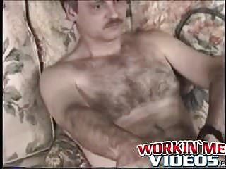 Bastard loves his hairy cock solo...
