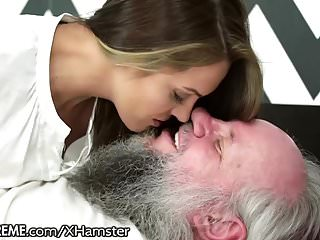 Old mans birthday babe riding his cock...
