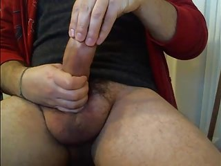 Fat italian uncut meat showing off...