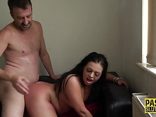 Chubby submissive spanked...