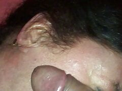 Grandma getting young dick slapped and rubbed all over face