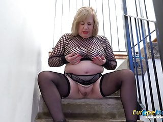Europemature busty solo masturbation...