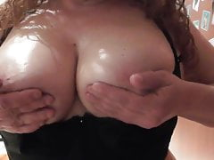 Oiled busty