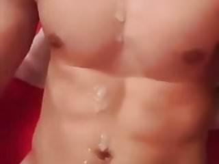 Skinny abs guy cumshot...
