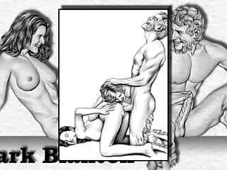 Erotic drawings of marc blanton nymphs and satyr...