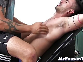 Hunky sure novice endures tickle torment from two deviants