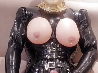 Latex masturbation and shoot the cream out...