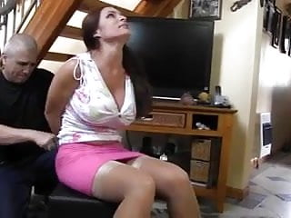 Pink dress bondage...