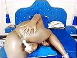 Thick ass black chick playing with her lovely dildo