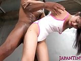 Tiny Japanese in swimsuit interracial spitroast