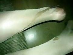 Bukkake nylon leg