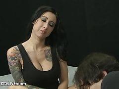 Tattooed Brunette Lily Lane Stuffed On Cam By Erick John!