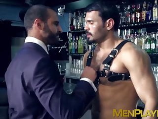 Bar gimp agrees to fuck this sexy classy dude after hours