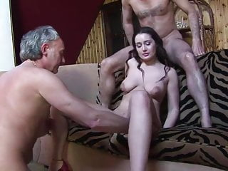 A very nice girl... and some dirty ugly man.......