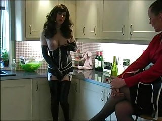 Latex Shemale Lingerie Shemale Ladyboy Shemale video: Crossdresser Felicity strips in the kitchen