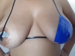 Taping busty brazilian nipples for carnival...