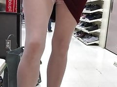 Teasing in upskirt and stockings outdoor