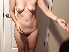 Allison removes fitness attire to pose nude