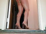 PANTYHOSE tease in garage!